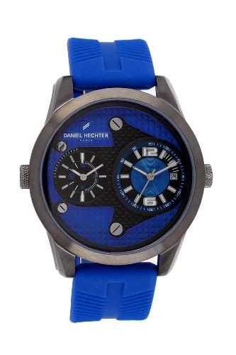 Daniel Hechter-Holzspalter DHH 0123GG Herren-Armbanduhr Regate Quarz analog Silikon Blau, blau