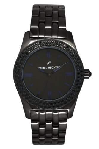 Daniel Hechter - 003S3AM DHD Damen-Armbanduhr Alyce Quarz analog Stahl vergoldet, schwarz