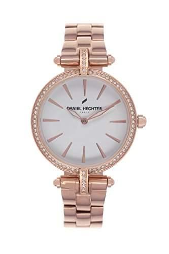 Daniel Hechter DHD 010S2BM Damen-Armbanduhr 045J699Analog weiß Armband Stahl vergoldet rosa