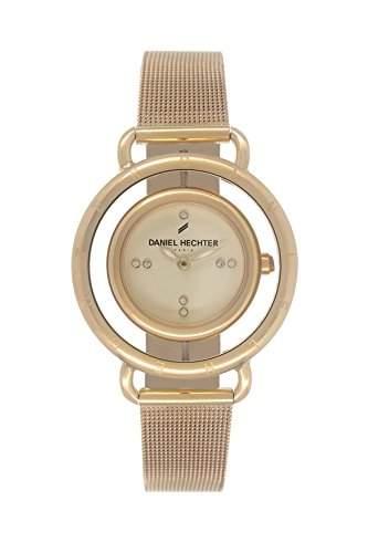 Daniel Hechter DHD 0111WM Damen-Armbanduhr 045J699, analog, Zifferblatt vergoldet, Stahl-Armband, vergoldet,
