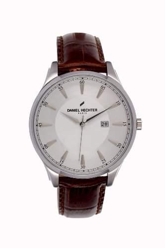 Daniel Hechter-Holzspalter DHH019-FU Herren Uhr-Quarz analog Leder Braun