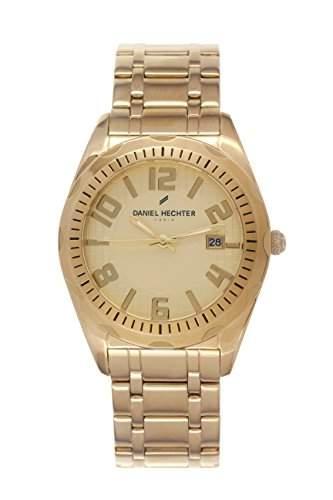 Daniel Hechter-Holzspalter DHH023 1EM Herren-Armbanduhr Alyce Quarz analog Stahl goldfarben beschichtet