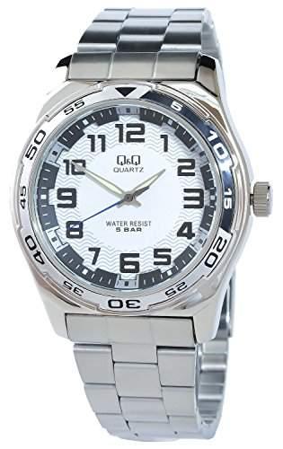 Q&Q Herrenuhr Weiss Schwarz Silber Analog Metall Armbanduhr Quarz Uhr