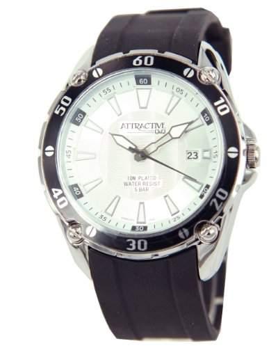 Q&Q Attractive Herren Uhr DA00J301 schwarz mit Silikon armband Analog Datum