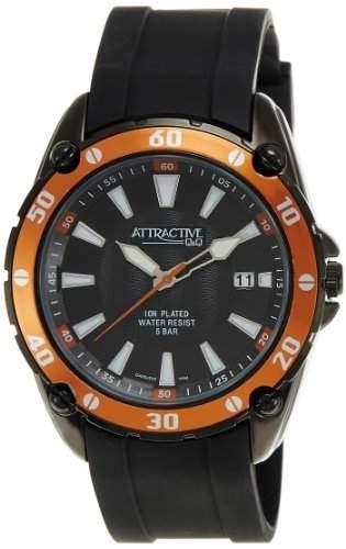 Q&Q Attractive Herren Uhr DA00J502 schwarz mit Silikon armband Analog Datum