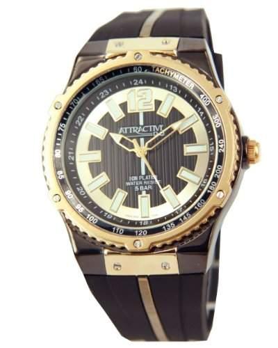 Q&Q Attractive Herren Uhr DA02J502 schwarz und Goldfarbig mit Silikon armband Analog