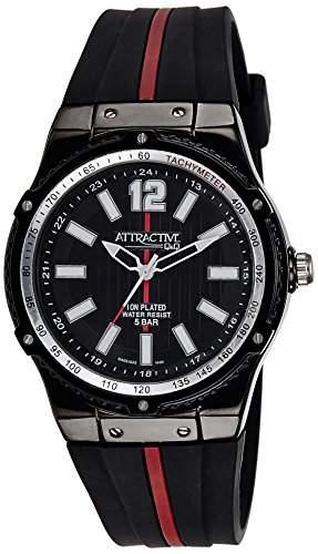 Q&Q Attractive Herren Uhr DA02J522 schwarz und rot mit Silikon armband Analog