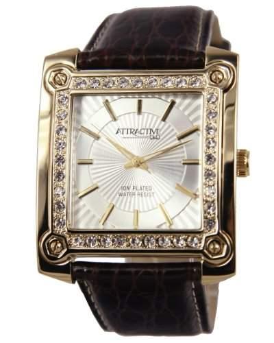 Q&Q Attractive Damen Uhr DA05J101braun mit leder armband Analog
