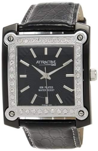 Q&Q Attractive Damen Uhr DA05J502 schwarz mit leder armband Analog