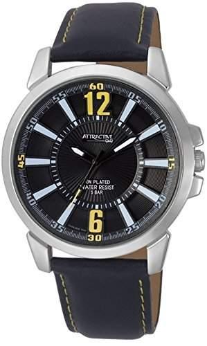 Q&Q Attractive Herren Uhr DA06J302 schwarz mit Leder armband Analog