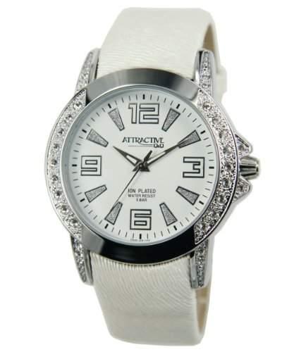 Q&Q Attractive Damen Uhr DA25j304 weiss mit Leder armband Analog