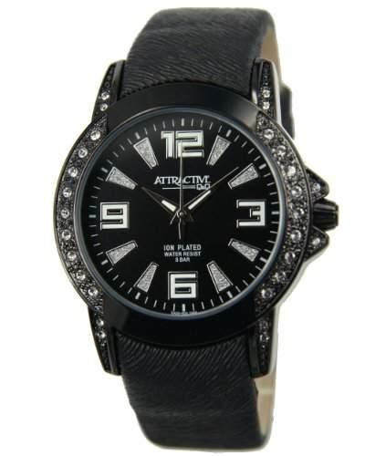 Q&Q Attractive Damen Uhr DA25j505 schwarz mit Leder armband Analog
