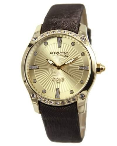 Q&Q Attractive Damen Uhr DA27j100 braun mit Leder armband Analog