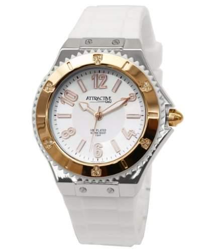 Q&Q Attractive Damen Uhr DA37J514 weiss mit Silikon armband Analog