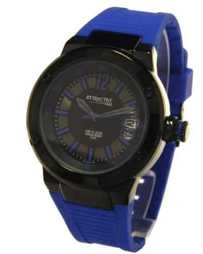 Q&Q Attractive Herren Uhr DA40J532 blau mit Silikon armband Analog Datum