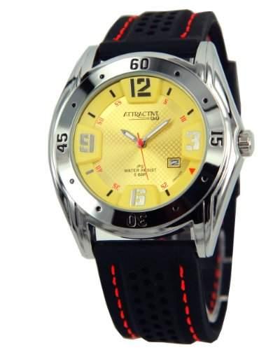 Q&Q Attractive Herren Uhr DB00J325 schwarz mit Silikon armband Analog Datum