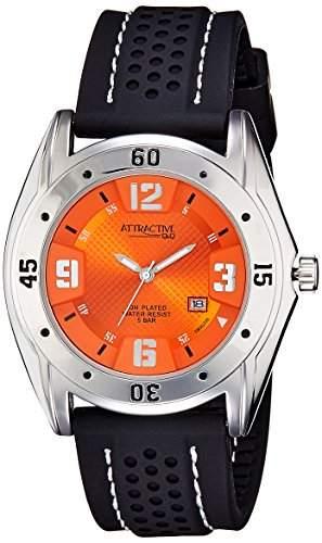 Q&Q Attractive Herren Uhr DB00J335 schwarz mit Silikon armband Analog Datum
