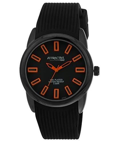 Q&Q Attractive Herren Uhr DB10J502 schwarz mit Silikon armband Analog