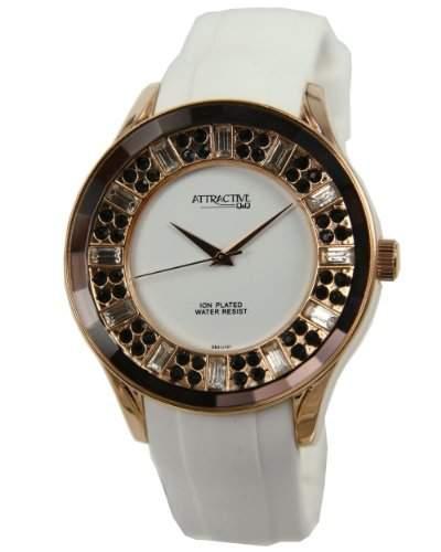 Q&Q Attractive Damen Uhr DB31J101 weiss mit Silikon armband Analog