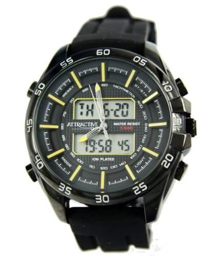 Q&Q Attractive Herren Uhr DE08J502 schwarz mit Silikon armband Analog Digital