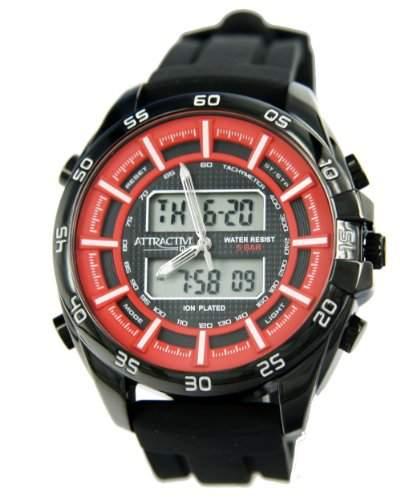 Q&Q Attractive Herren Uhr DE08J542 schwarz mit Silikon armband Analog Digital