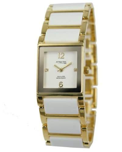 Q&Q Attractive Damen Uhr DF09J001 Goldfarbig und weiss Ion Plated armband Analog