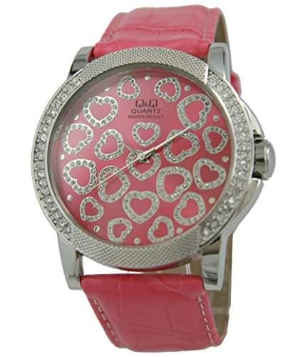 Q&Q Butterfly Damenuhr mit rosa Leder armband Analog Quarz GS17J312