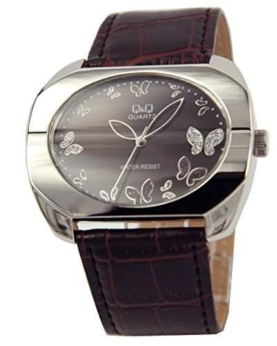Q&Q Butterfly Damenuhr mit braun Leder armband Analog Quarz GS55J302