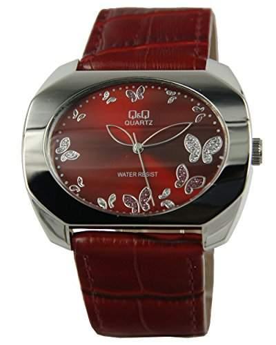 Q&Q Butterfly Damenuhr mit rot Leder armband Analog Quarz GS55J332