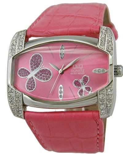 Q&Q Butterfly Damenuhr mit rosa Leder armband Analog Quarz GS57J322