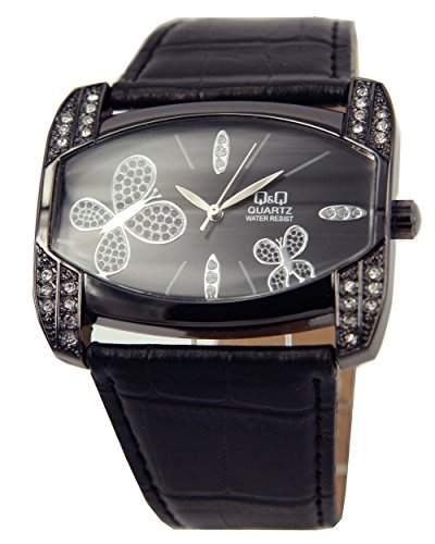 Q&Q Butterfly Damenuhr mit schwarz Leder armband Analog Quarz GS57J502