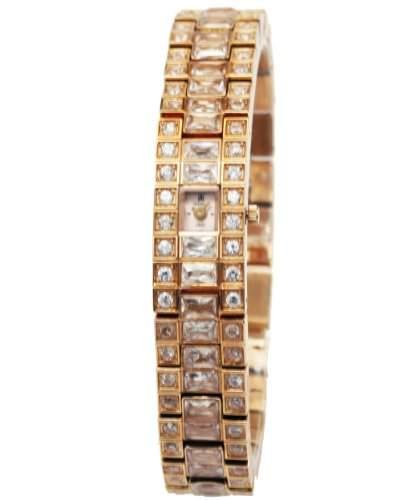 Q&Q Grandeux Damenuhr mit Rosagoldfarbiges armband Analog Quarz Y001-500