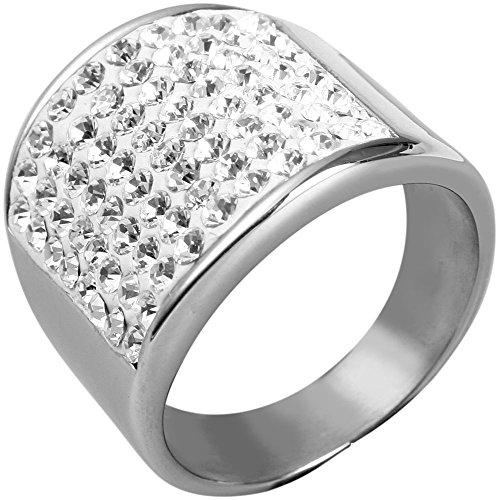 AKZENT Damen Ring Edelstahl Glanzsteine Silber 60 19 1
