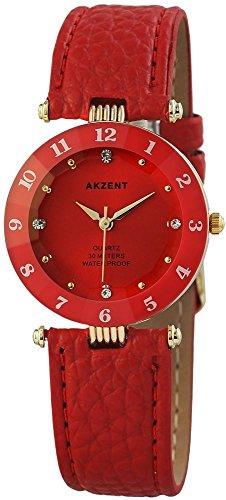 Akzent Rot Gold Analog Metall Leder Armbanduhr Quarz