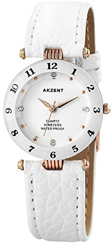 Akzent Weiss Gold Analog Metall Leder Armbanduhr Quarz