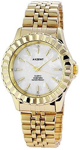 Akzent mit Edelstahlarmband Weiss Armbanduhr Uhr SS8102100007