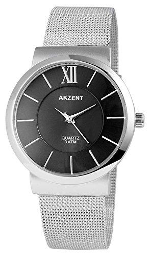 Akzent Premium Edelstahl Meshband Armbanduhr Damenuhr in Farbe Silber Schwarz
