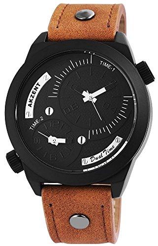 Akzent Herren Dual Time Armbanduhr mit hochwertigem Quarzwerk SS7771000028 022