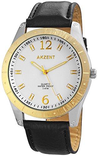 Akzent Herren Armbanduhr XL Analog Quarz verschiedene Materialien SS7701000023