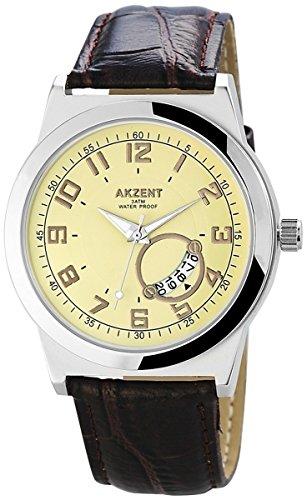 Akzent Uhr Armbanduhr Lederimitationarmband Gelb SS7527500004