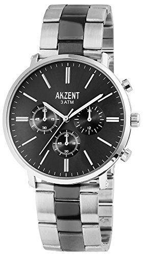 Akzent mit Edelstahlarmband Farbe Silber Anthrazit Moderne Elegante Chronolook SS8821600024