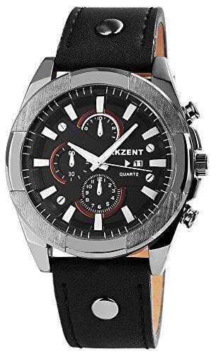 Akzent Herrenuhr mit Lederimitationsarmband Farbe Schwarz Anthrazit Datumsanzeige Moderne Herren Armbanduhr