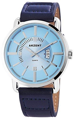 Akzent mit Lederimitationsarmband Farbe Blau Hellblau Silber Moderne Analog Quarz