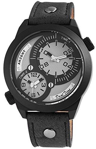 Akzent mit Lederimitationsarmband Farbe Schwarz mit zwei Zeitzonen XL Modern