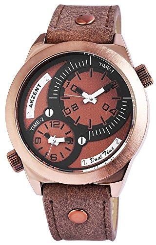 Akzent mit Lederimitationsarmband Farbe Braun Kupfer mit zwei Zeitzonen XL Modern