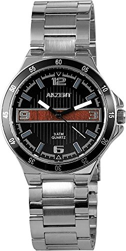 Akzent Schwarz Braun Analog Metall Armbanduhr