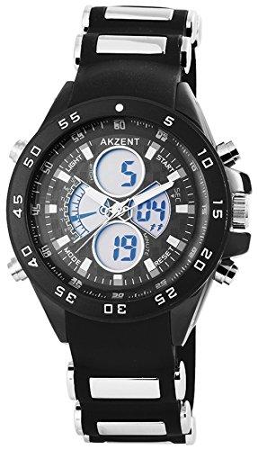 Akzent Dual Time Multi XXL mit Silikon Armband Analog Digitaluhr