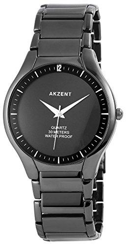 Akzent Herren Analog Armbanduhr mit Quarzwerk SS7071000017 und Metallgehaeuse mit Metallarmband in Schwarz und Faltschliesse Ziffernblattfarbe schwarz Bandgesamtlaenge 22 cm Armbandbreite 22 mm