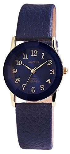 Akzent Damen analog Armbanduhr mit Quarzwerk SS7303000034 Metallgehaeuse mit Kunstleder Armband in Blau und Dornschliesse Ziffernblattfarbe Blau Bandgesamtlaenge 22 cm Armbandbreite 18 mm