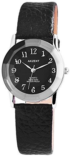 Akzent Damen analog Armbanduhr mit Quarzwerk SS7321100034 Metallgehaeuse mit Kunstleder Armband in Schwarz und Dornschliesse Ziffernblattfarbe Schwarz Bandgesamtlaenge 22 cm Armbandbreite 18 mm